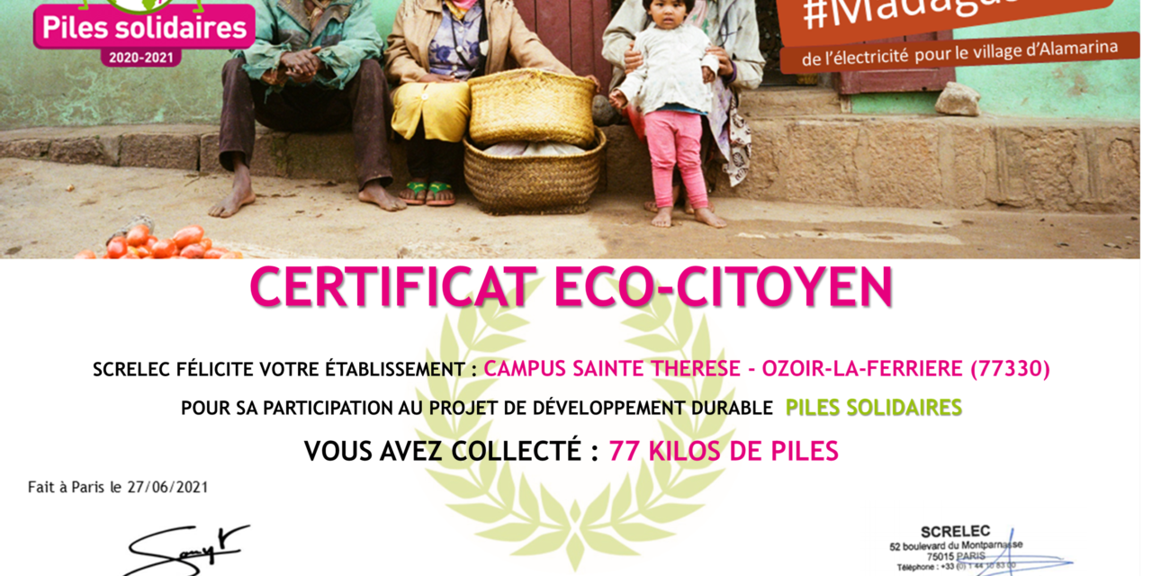 Projet Piles solidaires 2020-2021